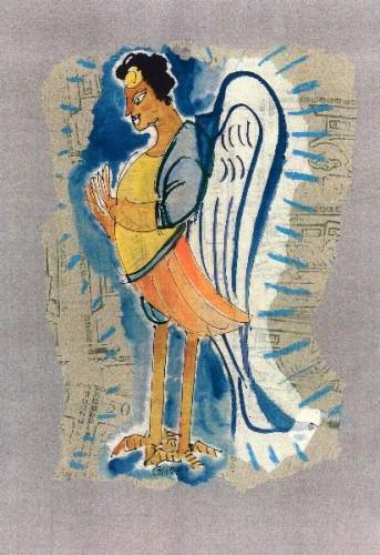 Fotograf: Eget fotoVærk  titel: Kinesisk  engel Værk  type: Collage Materiale: Papir Størrelse: 20x30 cm Færdiggjort: 1994