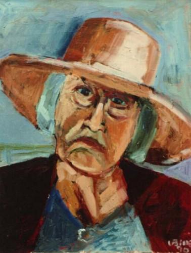 Fotograf: Eget fotoVærk  titel: Kvinde med hat Værk  type: Maleri Materiale: Olie på lærred Størrelse: 70x60 cm. Færdiggjort: 1990