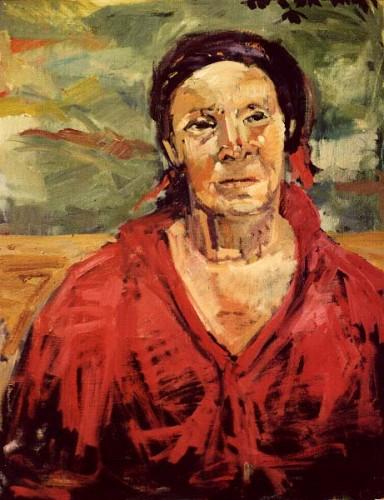 Fotograf: Eget fotoVærk  titel: Kvinde i Rødt Værk  type: Maleri Materiale: Olie på lærred Størrelse: 70x80 cm. Færdiggjort: 1993