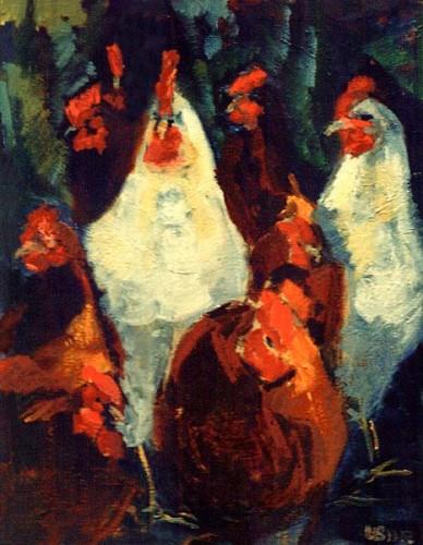 Fotograf: Eget fotoVærk  titel: Min hønsegård Værk  type: Maleri Materiale: Olie på lærred Størrelse: 70x80 cm. Færdiggjort: 1996