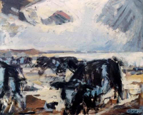 Fotograf: Gunnar Kristen HansenVærk  titel: Kreaturer ved fjorden Værk  type: Maleri Materiale: Olie på lærred Størrelse: 50x60 cm Færdiggjort: 1996 Placering: Privat