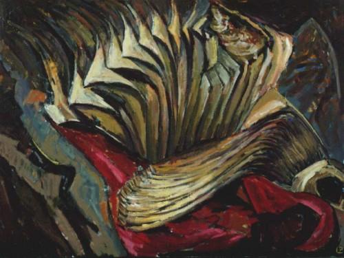 Fotograf: Poul PedersenVærk  titel: Univers Værk  type: Maleri Materiale: Olie på lærred Størrelse: 70x90 cm Færdiggjort: 1992
