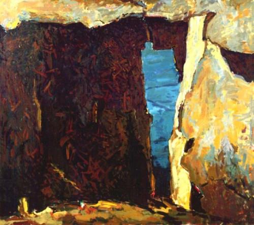 Fotograf: Poul PedersenVærk  titel: Cubansk fragment Værk  type: Maleri Materiale: Olie på lærred Størrelse: 135x155 cm Færdiggjort: 1991 Placering: Privateje