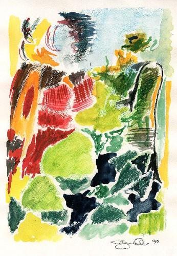 Fotograf: Eget fotoVærk  titel: Kvinde i exteriør Værk  type: Akvarel Materiale: Akvarel på papir Størrelse: 29x21 cm Færdiggjort: 1992