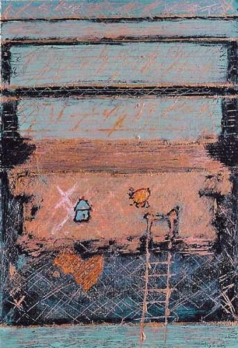 Fotograf: Eget fotoVærk  titel: Uden titel Værk  type: Maleri Materiale: Acryl på masonit Størrelse: 30 x 20 cm Færdiggjort: 2001