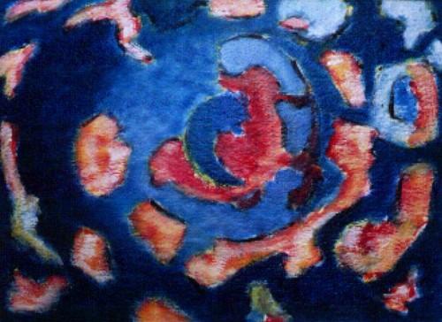 Fotograf: Eget fotoVærk  titel: Kosmos Værk  type: Maleri Materiale: Acryl på fiberplade Størrelse: 90 x 110 cm
