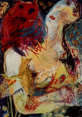 Fotograf: Jesper HoldgaardVærk  titel: Model og kat Værk  type: Maleri Materiale: Acryl/blandteknik på papir Størrelse: 88x62 cm. Færdiggjort: 1992 Placering: Privat eje