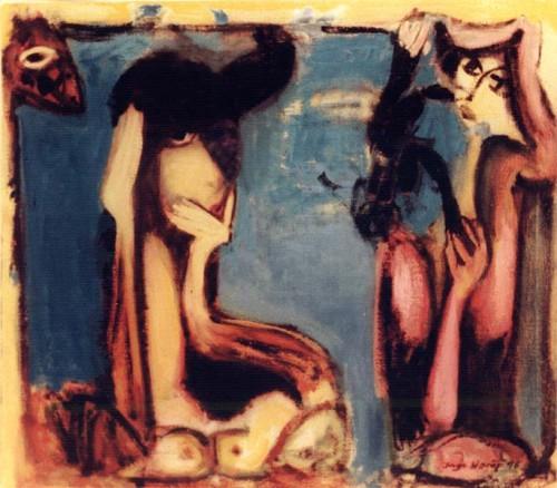 Fotograf: Eget fotoVærk  titel: Problematisk møde Værk  type: Maleri Materiale: Olie på lærred Størrelse: 83x95 cm. Færdiggjort: 1996