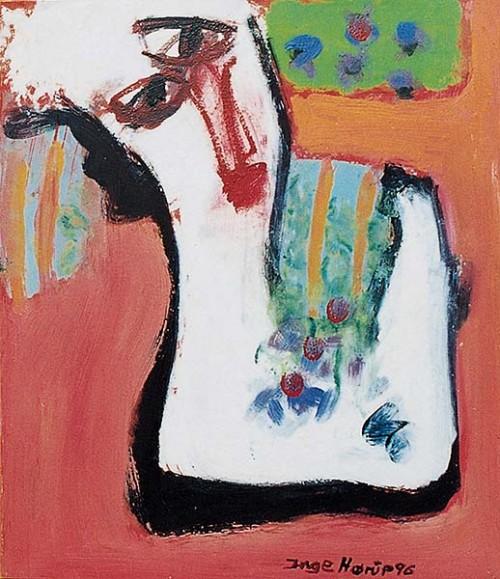 Fotograf: Eget fotoVærk  titel: Scene fra et blomsterbed Værk  type: Maleri Materiale: Olie på masonit Størrelse: 40x40 cm. Færdiggjort: 1996