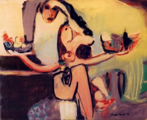 Fotograf: Eget fotoVærk  titel: Dame med frugtskåle Værk  type: Maleri Materiale: Olie på lærred Størrelse: 81x101 cm. Færdiggjort: 1996