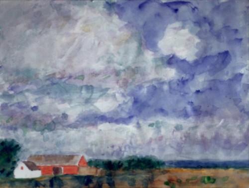 Fotograf: Asger BaagøeVærk  titel: Gård og marker Værk  type: Maleri Materiale: Akvarel på papir Størrelse: 21 x 30 cm Færdiggjort: 1998