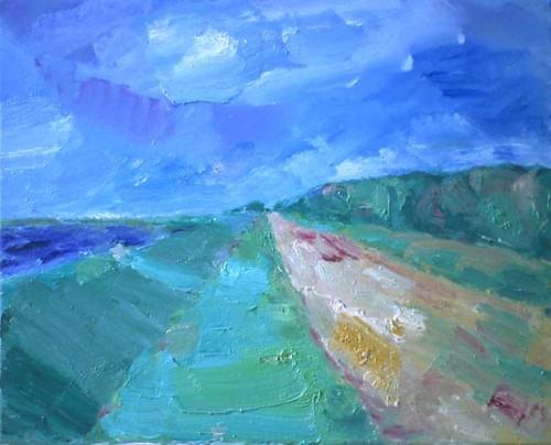 Fotograf: Eget fotoVærk  titel: Kystlandskab Værk  type: Maleri Materiale: Olie på lærred Størrelse: 65 x 80 cm Færdiggjort: 2000