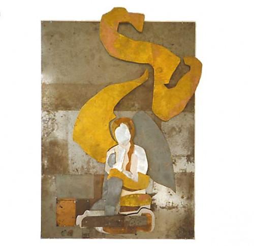Fotograf: Eget fotoVærk  titel: Engel og tegn Værk  type: Relief Materiale: Metal og træ på jern Størrelse: 182 x 125 cm Færdiggjort: 1997