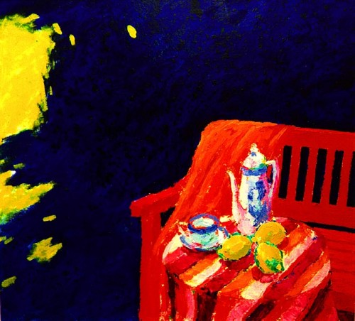 Fotograf: Leif MosevangVærk  titel: Tre citroner Værk  type: Maleri Materiale: Olie på lærred Størrelse: 100x110 cm Færdiggjort: 1994