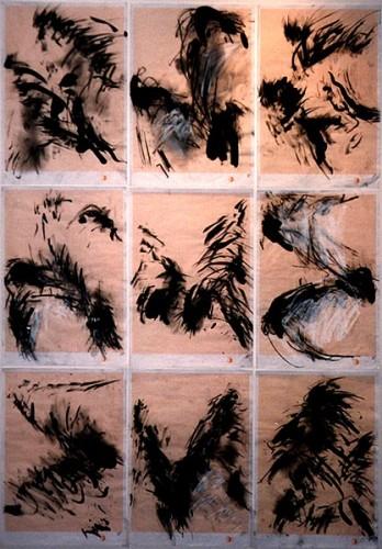 Fotograf: Kaj HjortshøjVærk  titel: Vind- krop-rytmer Værk  type: Tegning Materiale: Sort og hvid kridt og tusch på millimeterpapir Størrelse: 24x35 cm. Færdiggjort: 1998