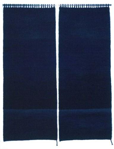 Fotograf: Eget fotoVærk  titel: Himmel og hav Værk  type: Billedvævning Materiale: Blandede garner Størrelse: 120 x 150 cm Færdiggjort: 1989 Placering: Privateje