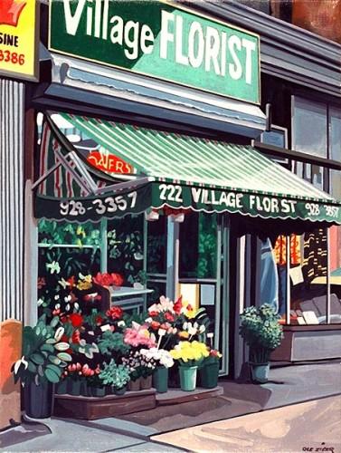 Fotograf: Eget fotoVærk  titel: Village Florist Værk  type: Maleri Materiale: Acryl på lærred Størrelse: 100 x 70 cm. Færdiggjort: 1998