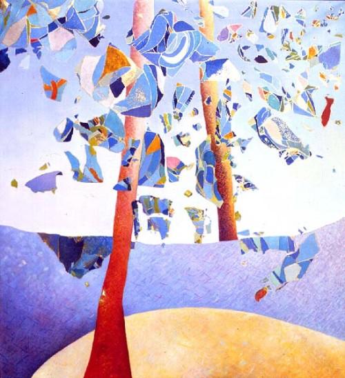 Fotograf: Ditte Channo JessenVærk  titel: De stores rum Værk  type: Maleri Materiale: Olie og slagmetal på lærred Størrelse: 112 x 100 Færdiggjort: 1991