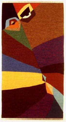 Fotograf: Nicola FasanoVærk  titel: Camouflage Værk  type: Billedvævning Materiale: Hør, uld, metal, bomuld, bast Størrelse: 182x80 cm Færdiggjort: 1992