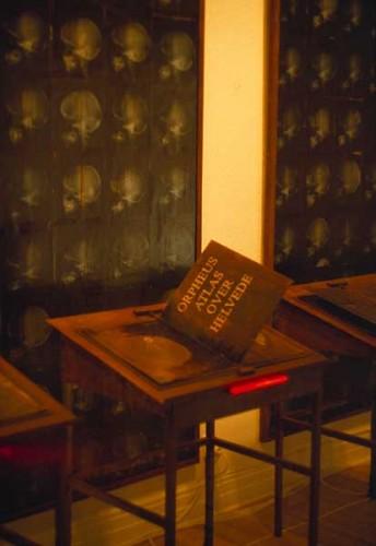 Fotograf: Frank LarsenVærk  titel: Orpheus Atlas over helvede - udsnit Værk  type: Installation Færdiggjort: 2001 Øvrigt: Seks læsepulte med bevægelige kobberbøger (jern, kobber, lys), tre tavler (120x240 cm, røntgenbilleder, Masonit)