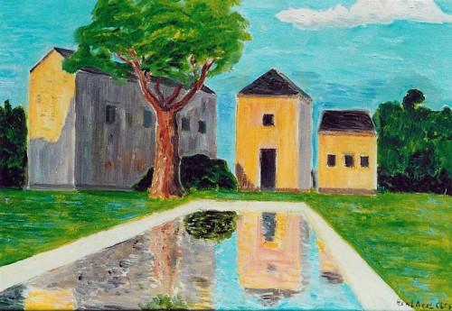 Fotograf: Eget fotoVærk  titel: Vandspejl, Frankrig Værk  type: Maleri Materiale: Olie på lærred Størrelse: 50 x 65 cm Færdiggjort: 2001 Placering: Privat eje