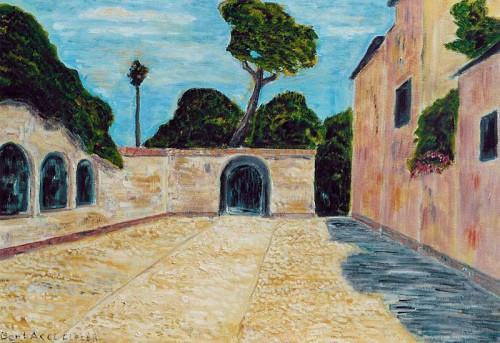Fotograf: Eget fotoVærk  titel: Motiv fra Syracura, Sicilien Værk  type: Maleri Materiale: Olie på lærred Størrelse: 50 x 65 cm Færdiggjort: 2002 Placering: Privat eje
