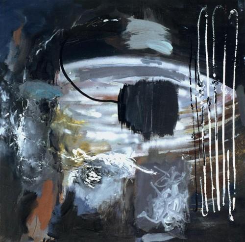Fotograf: Mikael JakobsenVærk  titel: Forskudt massiv Værk  type: Maleri Materiale: Olie og acryl på masonit Størrelse: 123x124 cm. Færdiggjort: 1997