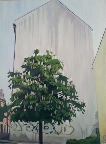 I et hjørne på Fredensgade, Randers, 45 x 60 cm. Priser og kontaktinformationer kan ses på www.mariefredborg.dk