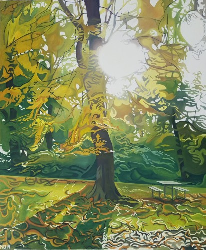Sol igennem grenene på et efterårstræ ved Kongens Ege i Randers. Måler 100x120 cm og koster 7968 kr.