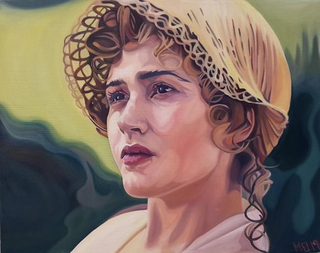 """Portræt af Kate Winslet som Marianne i filmatiseringen af """"Sense and sensibility""""."""