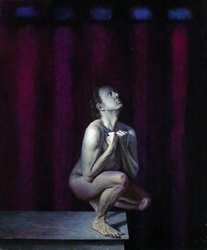 Fotograf: Hans SøndergaardVærk  titel: Selvportræt Værk  type: Maleri Materiale: Mixteknik på lærred Størrelse: 110 x 90 cm Færdiggjort: 1999