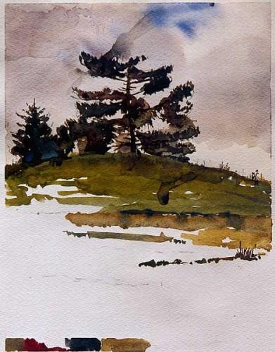 Fotograf: Eget fotoVærk  titel: Kuerners bakke Værk  type: Akvarel Materiale: Akvarel på papir Størrelse: 30 x 23 cm Færdiggjort: 1997 Placering: Privat eje