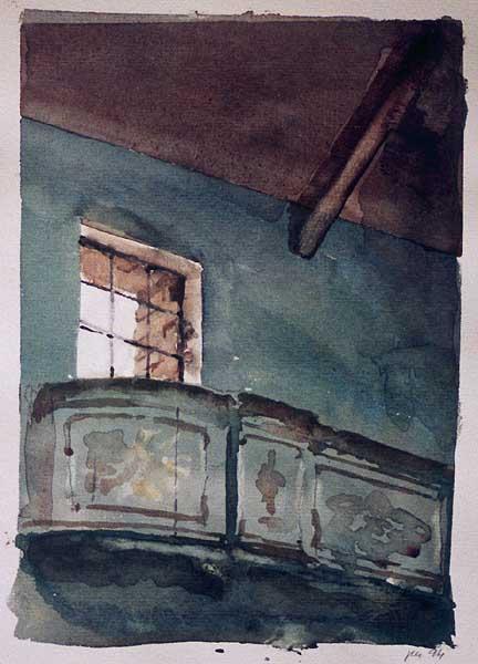 Fotograf: Eget fotoVærk  titel: Vindue Værk  type: Akvarel Materiale: Akvarel på papir Størrelse: 27 x 21 cm Færdiggjort: 1994 Placering: Privat eje