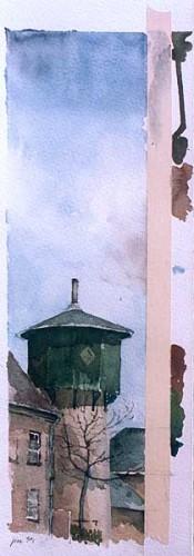 Fotograf: Eget fotoVærk  titel: Vandtårn Værk  type: Akvarel Materiale: Akvarel på papir Størrelse: 41 x 16 cm Færdiggjort: 1999 Placering: Privat eje