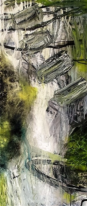 I find inspiration for my paintings in the nature. The key words for my work are energy, presence and movement. 120 x 50 cm
