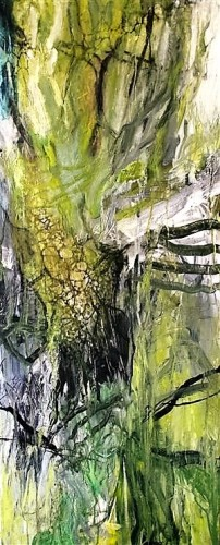 I find inspiration for my paintings in the nature. The key words for my work are energy, presence and movement. 120 x 50 cm (sold)