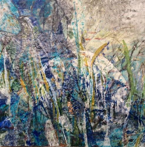 """""""Månestråle"""" 70 x 70 cm Encaustic på træbund, mange tynde lag af varm bivoks malet på en bund af træ, se evt mere på min hjemmeside www.hellequentin.weebly.com"""
