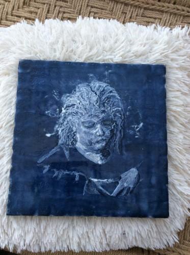 """""""Emilie""""  30x30 cm Encaustic på træbund, mange tynde lag af varm bivoks malet på en bund af træ, se evt mere på min hjemmeside www.hellequentin.weebly.com"""