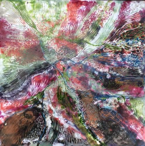 """""""Fuglekrat""""  30x30 cm Encaustic på træbund, mange tynde lag af varm bivoks malet på en bund af træ, se evt mere på min hjemmeside www.hellequentin.weebly.com"""