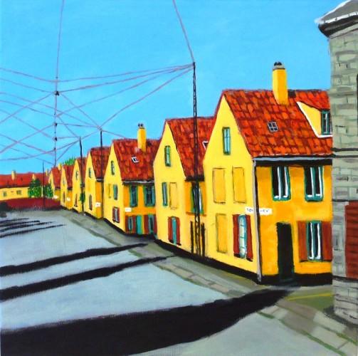 KL174 40x40 www.anetteandersen.com anette andersen skæve huse glade farver
