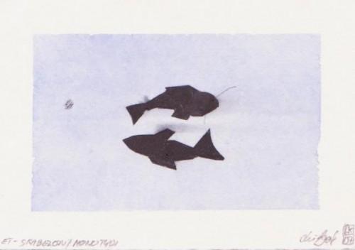 Monotypi m. skabeloner og farvelagt m/akvarel 12x18cm