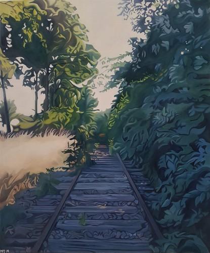 På vej væk 1. Forestiller en nedlagt bane, der er ved at blive overgroet af buskads. Det måler 100x120 cm og koster 8200 kr.