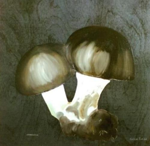Nine eleven - svampe der eksploderer. Blev malet umiddelbart efter og først nu kan jeg forholde mig til maleriet.Sign. Elisabeth Ford (kunstnerens tidligere navn).Olie på træ. 40x40 cm.