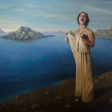 Singing-woman-at-rocky-coast-120x160-cm-2015