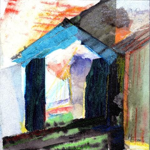 Collage 20x20 cm. Blandet teknik: papir, farvekridt og akryl på plade.
