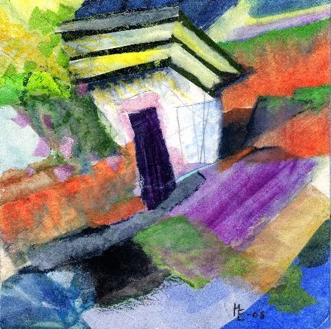 Collage 20x20 cm. Blandet teknik: papir, farvekridt og akryl.