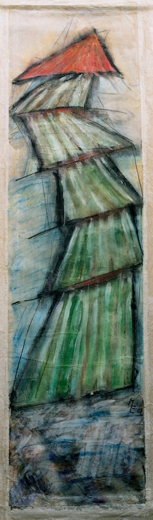 Papirbane ca. 55x175 cm. Japan - og kinapapir limet sammen i flere lag. Blandet teknik medakvarel-/olie- farvekridt ogakryl.