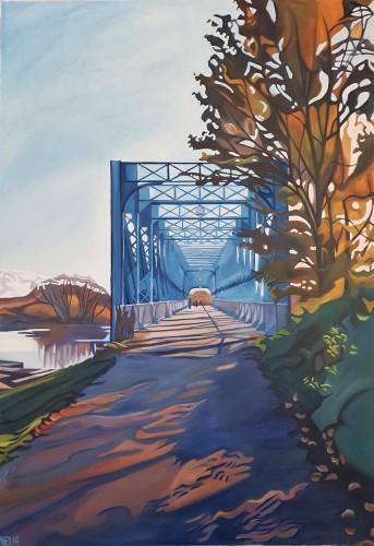 På vej væk 2. Maleriet forestiller Den blå bro over Gudenåen i Randers Midtby en solrig efterårsdag. Maleriet måler 70x100 og koster 7000 kr.