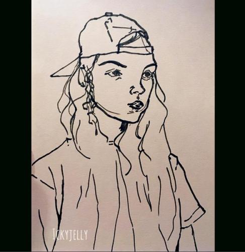 Portræt af en pige fra Instagram. Min instagram-profil hedder Ickyjelly, derfor er der et vandmærke på billedet med dette navn.