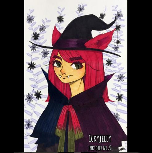 En illustration baseret på den årlige oktober udfordringen, hvor man skal tegne med blæk i en eller anden form, ud fra et ord eller koncept. Min instagram-profil hedder Ickyjelly, derfor er der et vandmærke på billedet med dette navn.